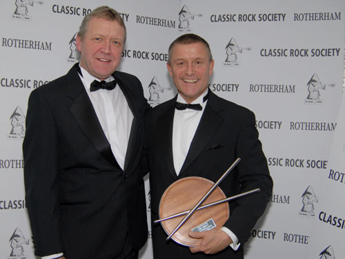 Carl Palmer receives Classic Rock Society Patron Award.